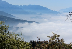 "A bird's-eye view of ""June gloom"" from just below the Strawberry Peak fire tower."